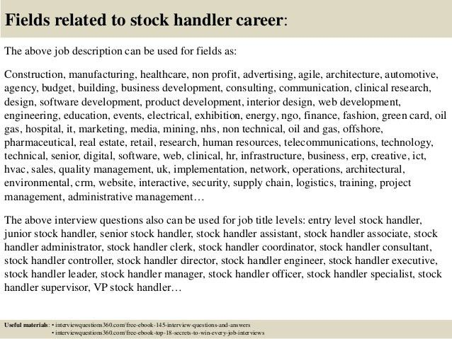 Top 10 stock handler interview questions and answers