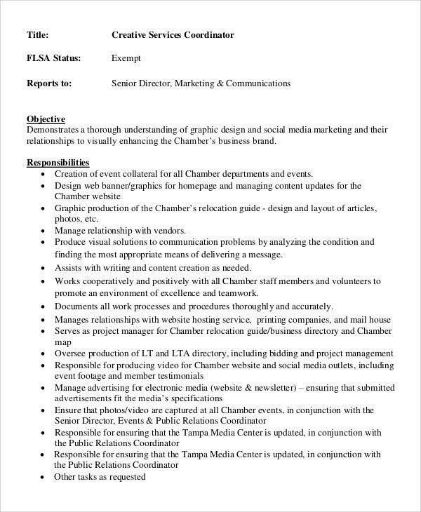 Sample Creative Director Job Description - 8+ Examples in PDF, Word