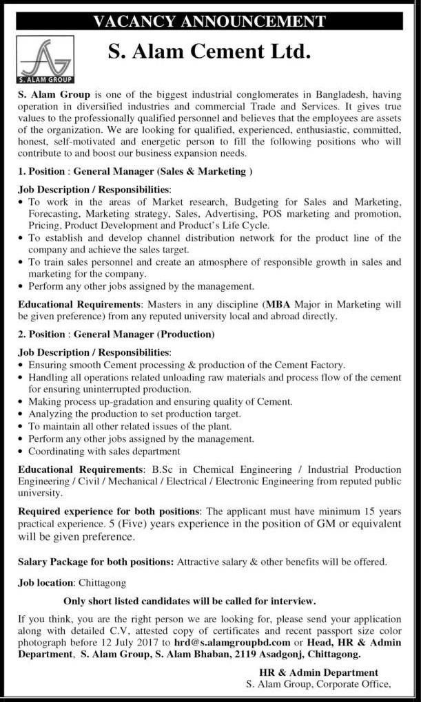 General Manager (Production) at - Chakri.com