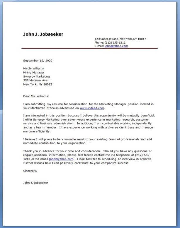 Resume Cover Letter Free Cover Letter Example in Sample Resume ...