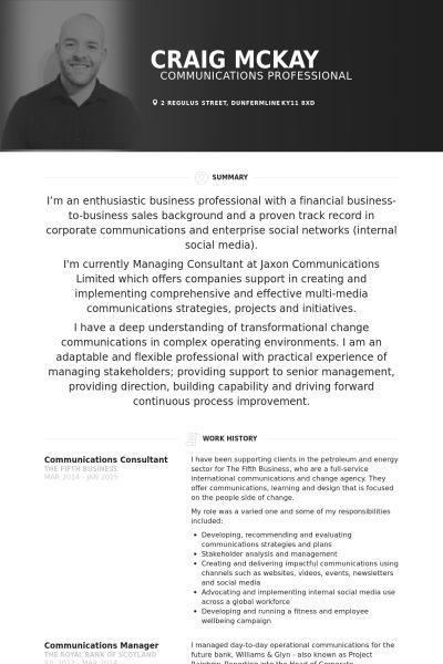 Communications Consultant Resume samples - VisualCV resume samples ...