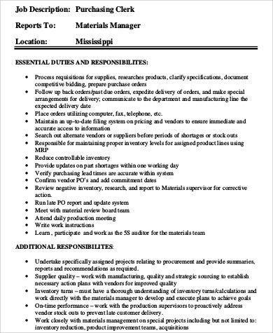 Purchasing Clerk Job Description Sample - 9+ Examples in Word, PDF