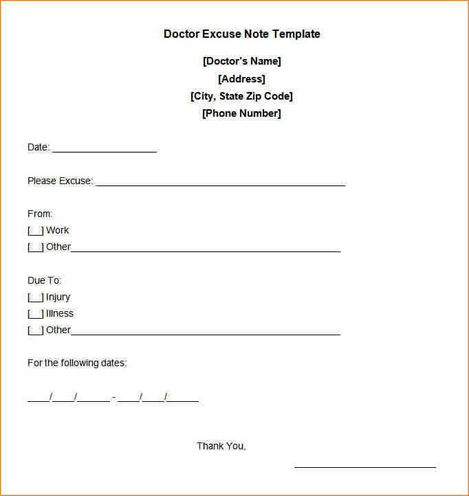 Blank Doctors Note Template - Contegri.com