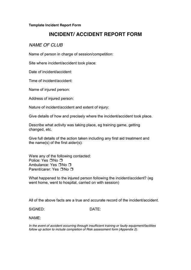 Incident Report Template - download free documents for PDF, Word ...