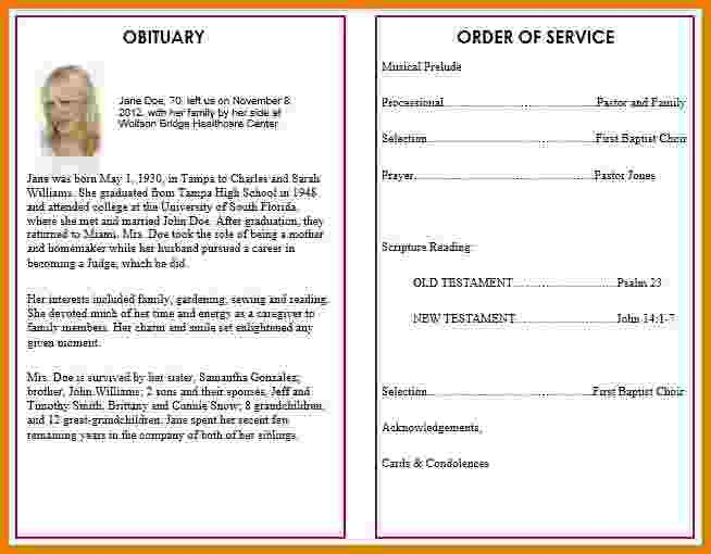 5+ funeral program template word | Itinerary Template Sample