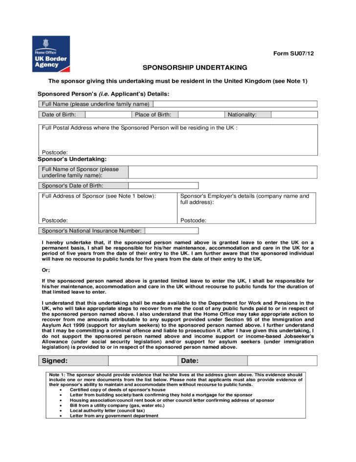 Sponsorship Undertaking Form - UK Free Download