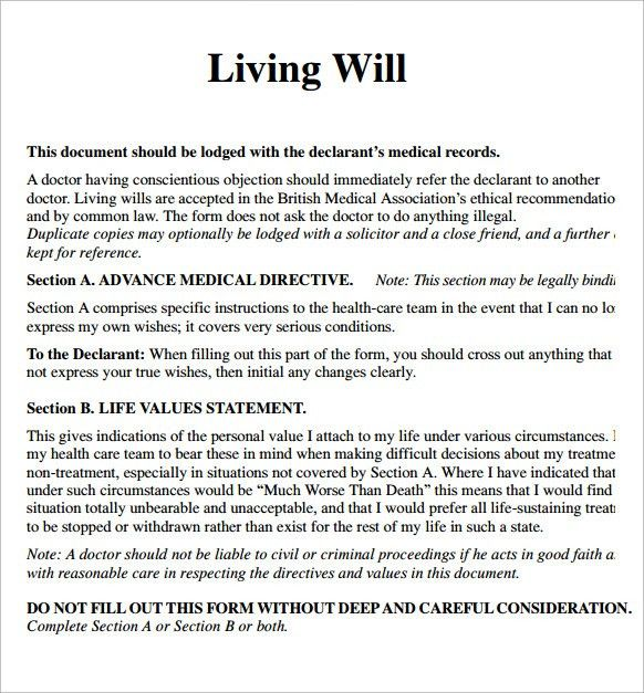 Free Will Template Last Will And Testament Template Free Printable - Living will template free