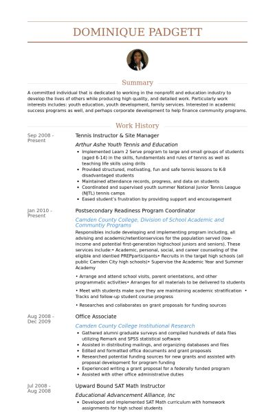 Sample Youth Development Manager Resume One Page Youth