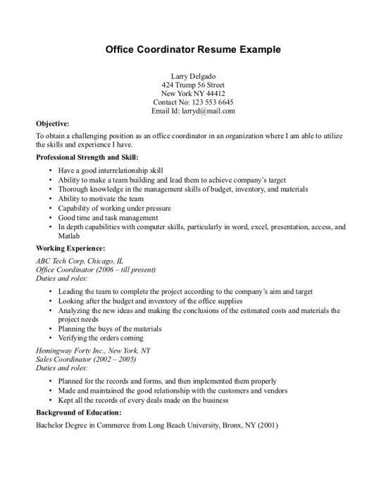 office coordinator resume sample