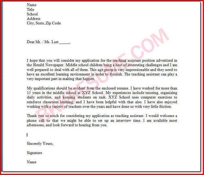 cover letter for teachers aide