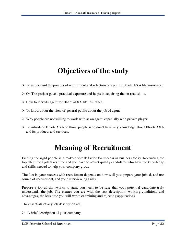 A project report on Training & Recruitment of Life Insurance Agent. G…
