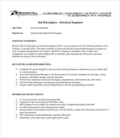 Engineer Job Description Templates - 10+ Free Word, PDF Format ...