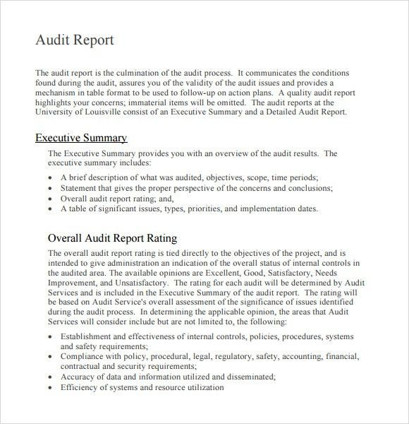 Nice Sample of Audit Report in Word Format with Executive Summary ...