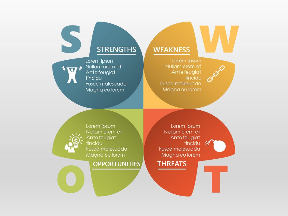 SWOT Analysis for PowerPoint - Light Background | swot | Pinterest ...