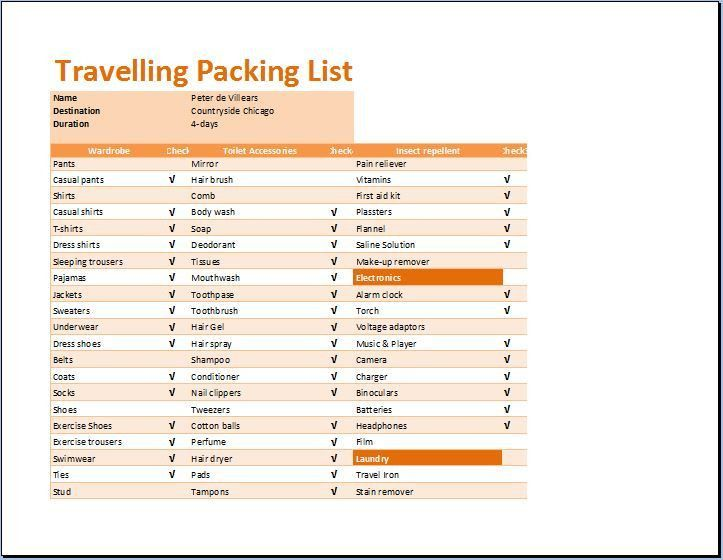 Printable Travelling Packing List Template | Word & Excel Templates