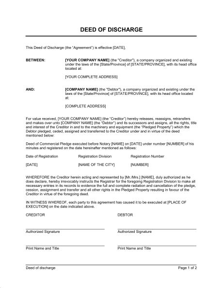 Deed In Lieu of Foreclosure - Template & Sample Form | Biztree.com