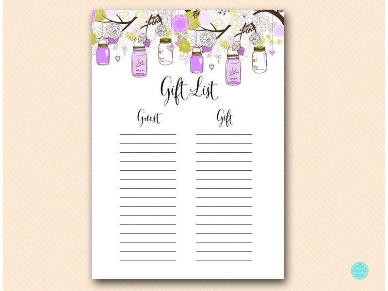 Purple Gift list Bridal Shower Gift List Baby Shower Gift