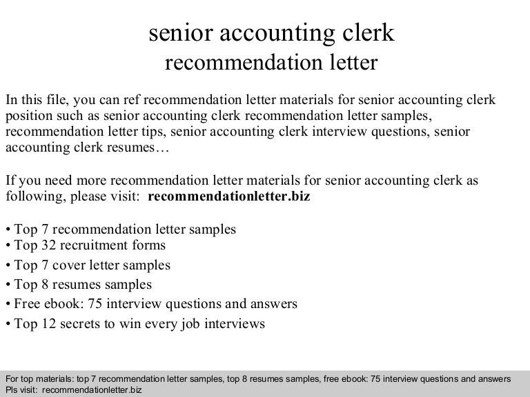 Senior accounting clerk recommendation letter