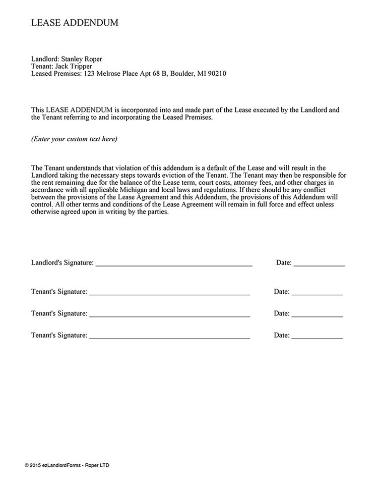 Lease Addendum Template | EZ Landlord Forms