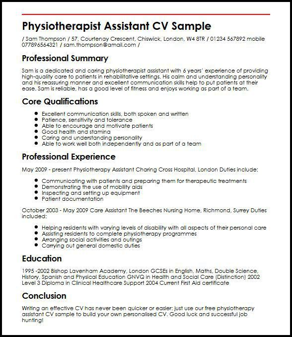 Physiotherapist Assistant CV Sample | MyperfectCV