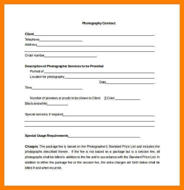 Photography Contract Templates. Final Photograph Pricing ...