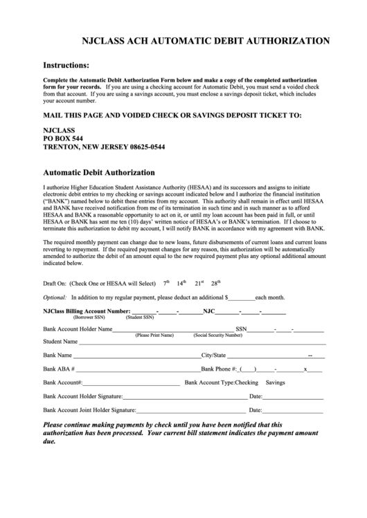Top 5 Ach Debit Authorization Form Templates free to download in ...