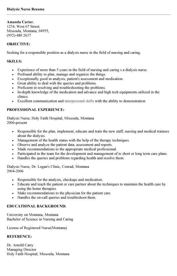 Peritoneal Dialysis Nurse Resume. example rn resume registered ...
