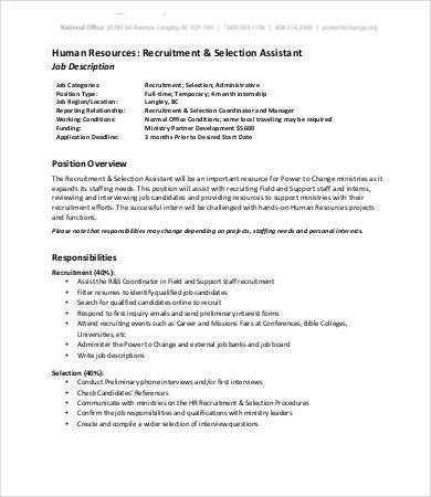 Human Resources Assistant Job Description - 9+Free Word, PDF ...