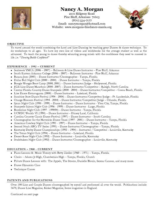 dance resumes format dance resume format dance resume sample ...