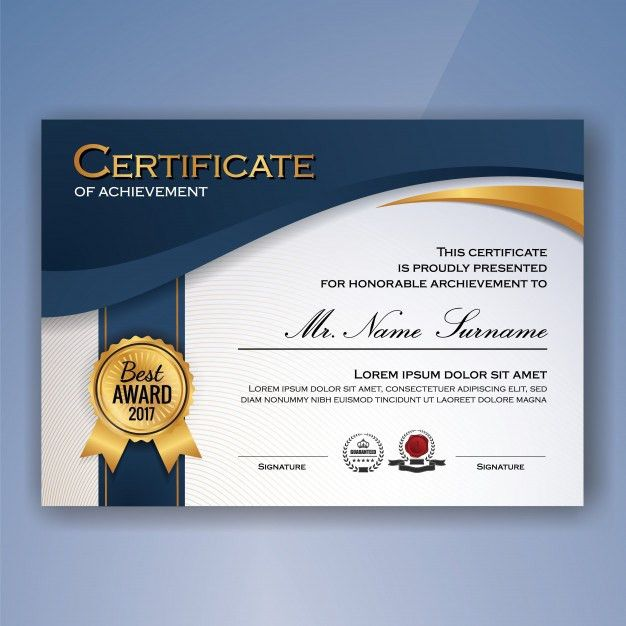 Certificate of achievement template Vector | Free Download