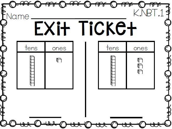 Kindergarten Math Exit Tickets Ticket Free Exit ticket for NBT ...
