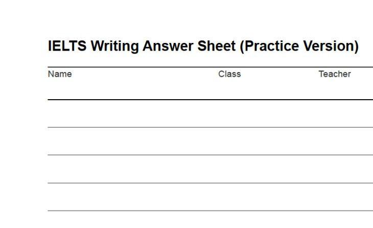 IELTS Writing Answer Sheet: Download as PDF