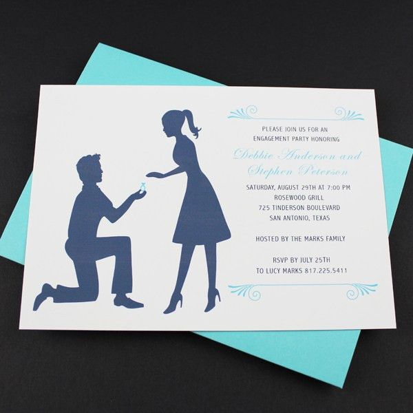 Engagement Party Invitation Template: Silhouette Couple – Download ...