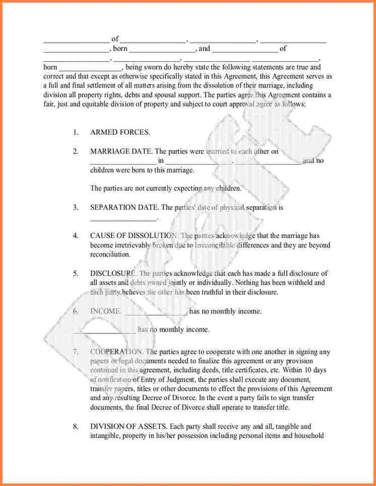 6+ divorce agreement template south africa | Divorce Paper