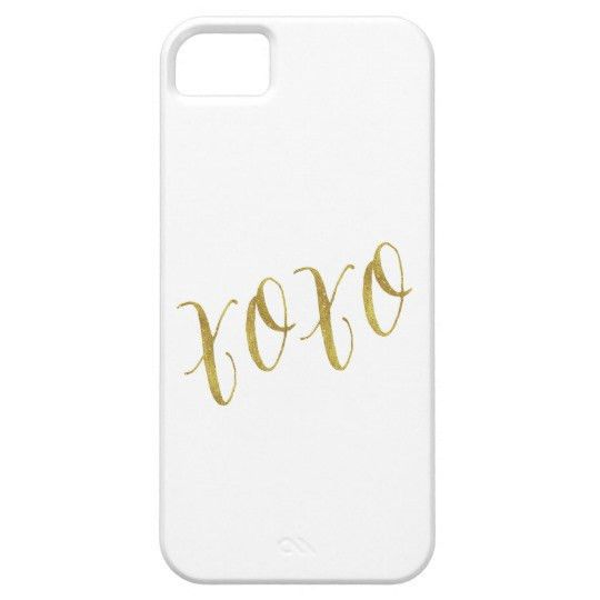 XOXO Quote Faux Gold Glitter Background Template iPhone SE/5/5s ...