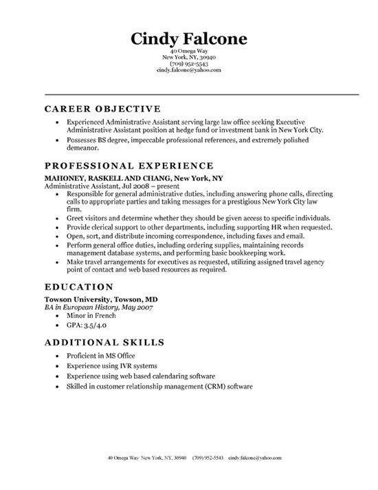resume sample executive assistant. executive assistant resume ...