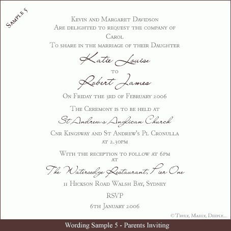 Sample Wedding Invitation Wording | badbrya.com