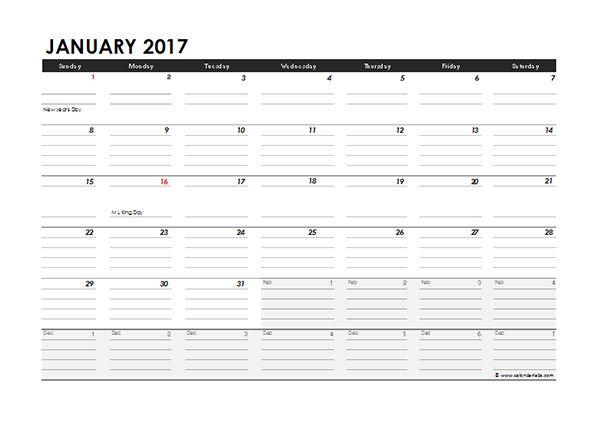 2017 Monthly Calendar Excel Template - Free Printable Templates
