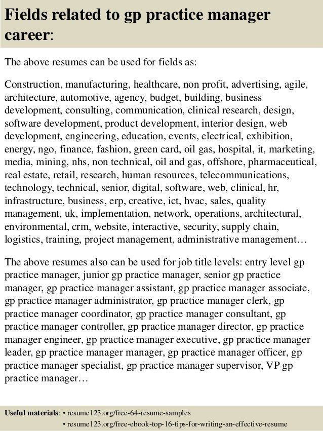 Top 8 gp practice manager resume samples