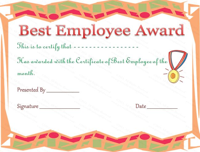 Funny Best Employee Award and Certificate Template with Colorful ...