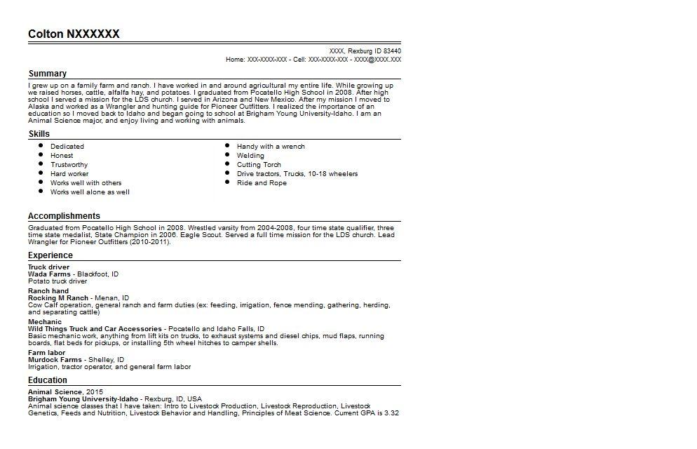 Animal Science Student Resume Resume Sample | Quintessential ...