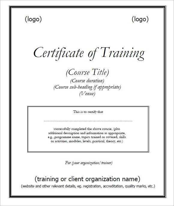Training Certificates PDF Sample | Certificate Templates