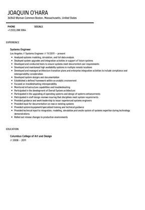 systems engineer resume sample systems engineer free resume
