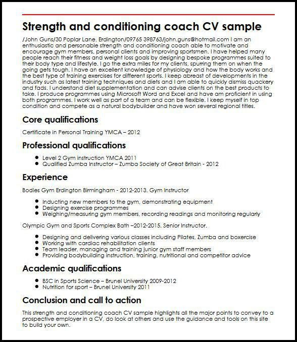 Strength and conditioning coach CV sample | MyperfectCV