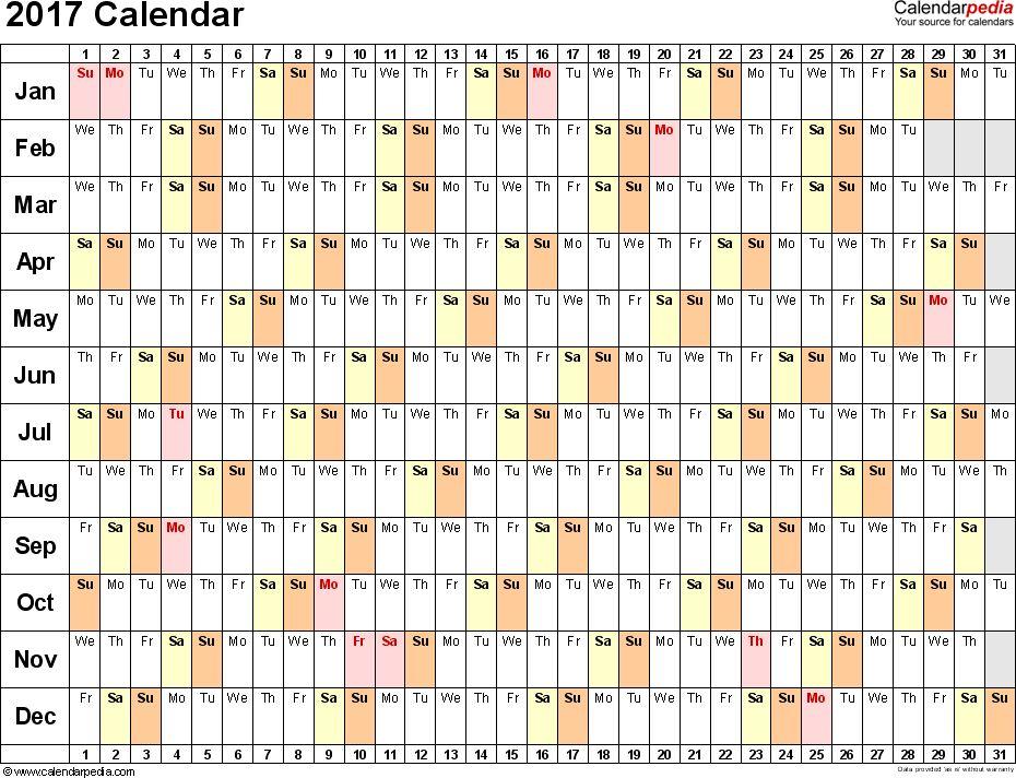 2017 Calendar - 17 Free Printable Word Calendar Templates