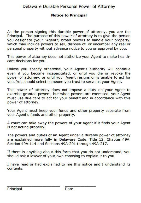 Free Delaware Power of Attorney Form | PDF Template | Form Download