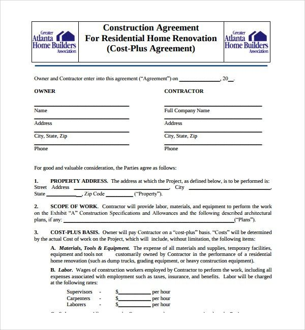 Sample Construction Agreement Template - 6+ Free Documents ...