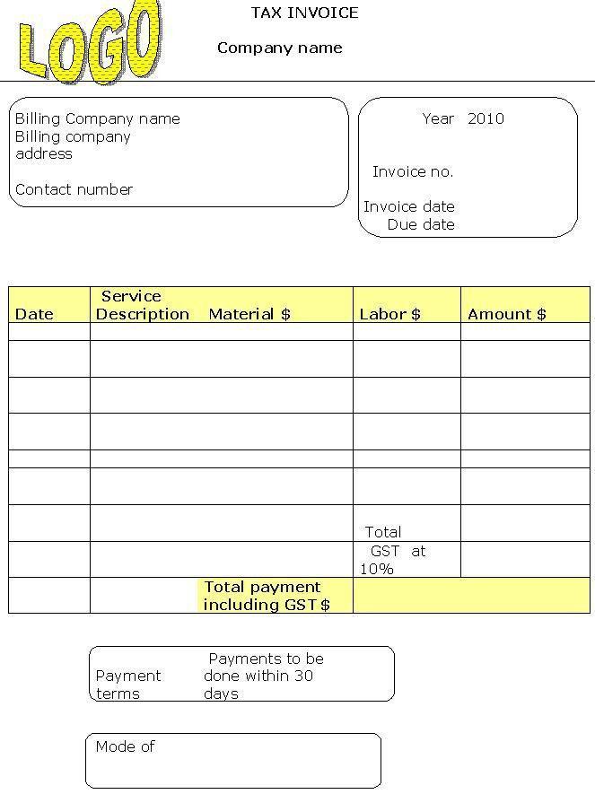 Sample 2010 Tax Invoice : Invoice Templates