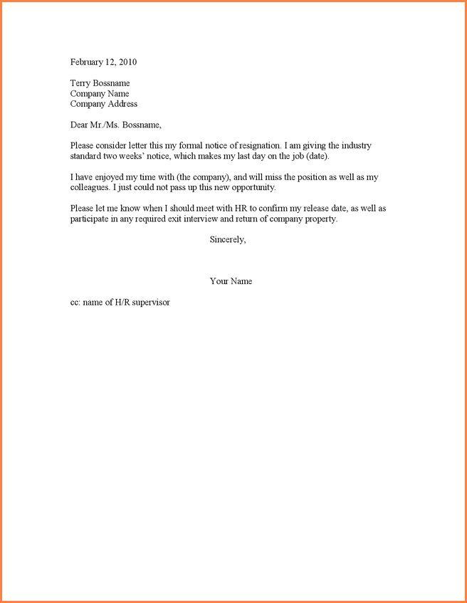 12+ resignation letter examples 4 weeks notice | School Notice Format