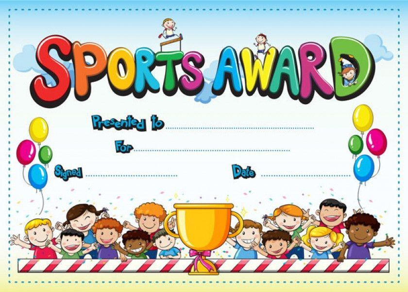 Kids Sports Award certificate | School Merit Stickers